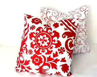 Christmas Pillow Covers, Xmas Decor, Red White Holiday Pillow Cover, Premier Prints Red Scroll or Red Paisley, Choose Size, Holiday Decor