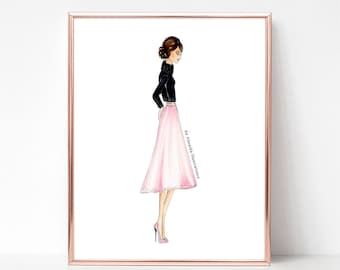 Turtle neck and pastels, fashion illustration print, art print, sketch, croquis,