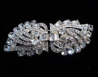 Rhinestone Duette / Joseph Wiesner NY / 1950s Mid Century Fashion Designer / Fur Clips / Dress Clips / Wedding Bride Bridal Jewelry