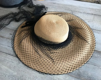1940s Straw Hat, Black Netting, Velvet Ribbon, Dramatic, Old Hollywood