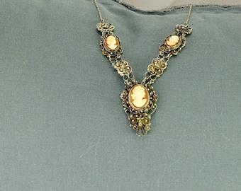 Victorian 800 Silver Cameo Necklace
