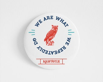 Aristotle, Greece, accessory, Inspirational Quote, Greek Philosophy, owl, life, vintage typography, Illustrated pin, Motivational print