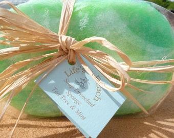 Large Soap Drenched Sponge - Tea Tree & Mint Essential Oils