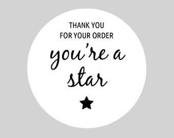 Round Thank You Stickers, Sheets, Self Adhesive for Postage, Packaging, Products, Mailing - Thank You For Your Order - You're a Star, 37mm