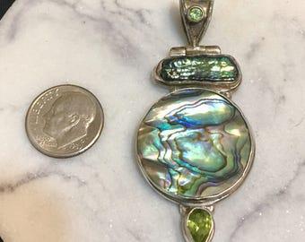 """Abalone, Peridot, Biwa Pearl sterling silver pendant, 2 1/4"""" x 1"""""""