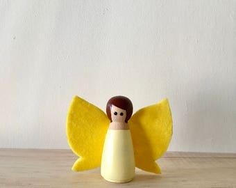 Fairy Peg Doll, Pegdoll Fairy, Girl Peg Doll, Fairy Garden, Fairy Play, Fairy Doll, Yellow Peg Doll, Little Pixie Peg Doll, Peg Doll Play