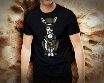 Steampunk white rabbit black t shirt for men, screen printed men's short sleeve tee shirt, Size S, M, L, XL, XXL