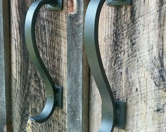 Set of 2 Gracefully Curved Hand Forged Blacksmith Made Door Pulls- Vintage/Antique Wrought Iron Look