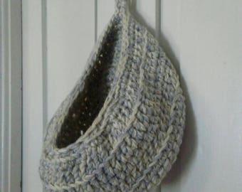 New Crocheted Doorknob Basket Storage Pod Organizer Ecru Grey Toys Scarves Socks Washcloths Bedroom Bathroom Living Room Custom Color Option