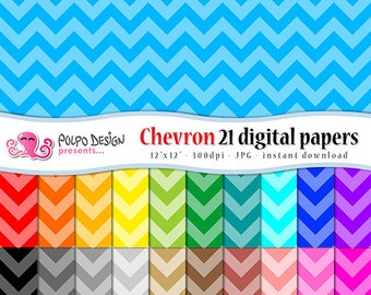 Monochromatic Chevron digital papers. Commercial & Personal Use. Instant Download. chevrons pattern patterns paper zig scrapbooking rainbow