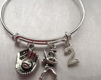 Baseball bracelet with player glove and number