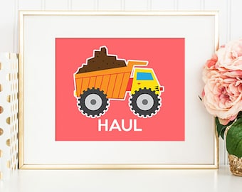 Trucks 03 Haul - 8x10 Nursery Art, Construction Trucks, Nursery Decor, Printable Art, Wall Art, Truck Decor, Truck Print