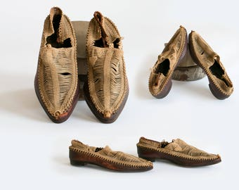 """Rare Antique East Indian Leather Shoes / Loafers // Beautifully Woven 10.5"""" x 3.5"""" // Late 1800's - Early 1900's, India"""