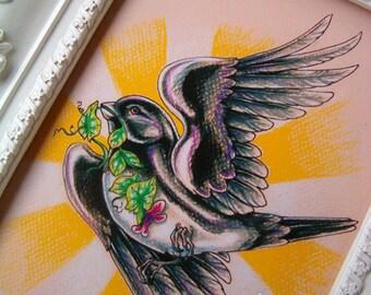 "LAST ONE! Flying Songbird Tattoo Art Two Card Set 5""x7"" - Flighty Seasons Card Set"