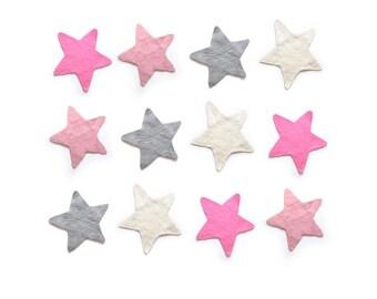 STAR Felt Rug, Grey Pink Soft Pink WHITE, Felt Rug, Kids Decor, Kids Rug, Felted, Nursery Rug, Children decor, Star Decor <REGULAR Size>