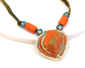 Orange Pottery Necklace, Fairy Silk Necklace, Orange Green Turquoise, Handmade Beads, Pendant Necklace, Art Necklace, Jewelry for Mom Gift
