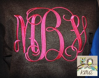 Monogram Tee, Monogrammed Sweatshirt, Bridal Party Gift, Bride Gift , Sorority Sweatshirt, Rush Week