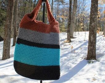 Small Crochet Bag, Crochet Book Bag, Small Crochet Purse, Colorful Tote