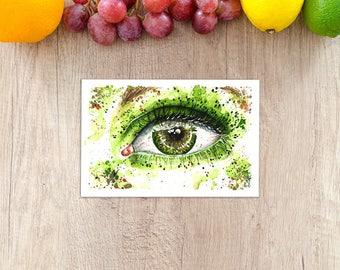 Kiwi Eye - Fine Art Print Watercolor