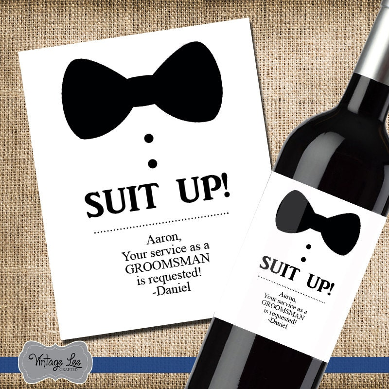 Asking For Wedding Gifts: Will You Be My Groomsman Label Asking Groomsman Wine Label