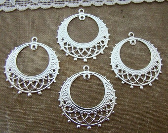 Lacey Silver Plated Filigree Gypsy Hoop Chandelier Earring Findings Dangles  - 4