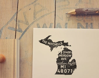 Michigan Return Address State Stamp, Personalized Rubber Stamp