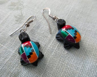 vintage Native American tortoise earrings with mosaic design - turquoise, coral, malachite, southwest, animals