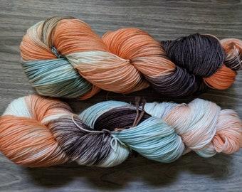 Yarn, Hand dyed yarn, Orange Yarn, Green Yarn, Brown Yarn Superwash Merino/Nylon,Sock Yarn, Knitting , Crochet  - Summer Melon