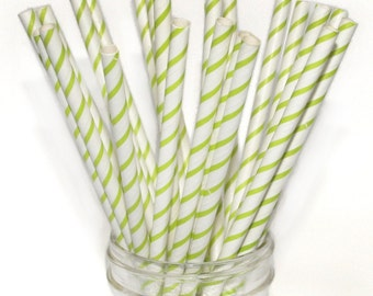 SALE! Paper Straw, Thin Lime Bright Green Stripe, Pack of 25