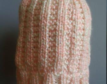 Knit winter hat skull cap beanie chemo cap acrylic cream and pink yarn