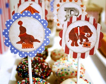 Vintage Circus Party Circles/Cupcake Toppers - INSTANT DOWNLOAD - partially Editable & Printable Birthday Decorations, Decor, Carnival