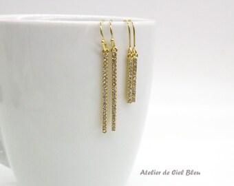 Bar Earrings, Long Gold Bar Earrings, Rhinestone Bar Earrings, Slim, Skinny, Thin Minimalist Gold Dangle Earrings, Stick Earrings, Geometric