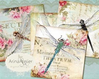 Coasters Vintage Dragonflies  4 x 4 inch - cards - Digital Download Sheet - Digital tags - Digital printable - Collage sheet- Magnets