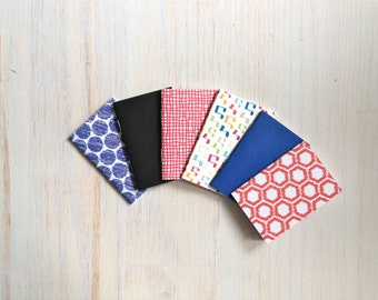 Notebooks: 6 Tiny Journal Set, Blue, Red, Music, Small Notebooks, For Her, For Him, Gift, Unique, Mini Journals, Party Favors, Wedding, T102