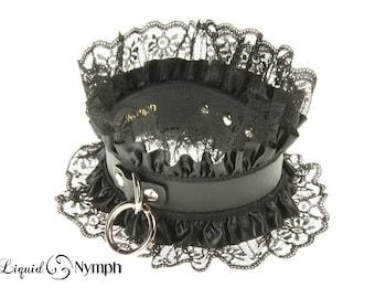 RHEA Feminine Bondage Matte Black Leather Satin Ruffle Lace Trim Dominatrix Gothic Lolita Choker - Leather Slave Collar Valentine's day Gift