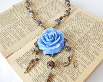 Blue Rose Necklace with Chain Tassels, Carved Rose Cameo, Bronze chains, Primitive beads, Dark blue & Brown, Flower necklace, Floral pendant