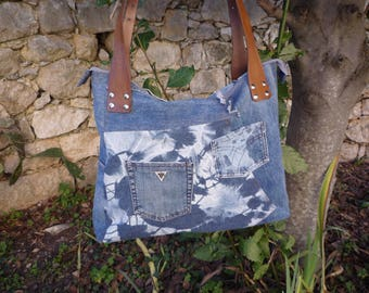 XXL handles brown leather patchwork denim tote bag