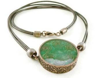 Orgone Energy Mens/Unisex Necklace - Large Double Sided Pendant - Copper w/Malachite Gemstone - Leather Necklace - Artisan Jewelry