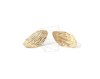 ERG-567-MG/2PCS/Comb Textured Post Earring/10mm X 20mm/Matte Gold Plated over Brass,silver Post