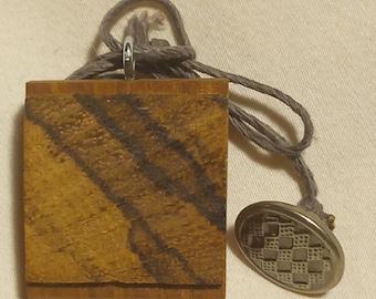 Teak and zebrawood necklace