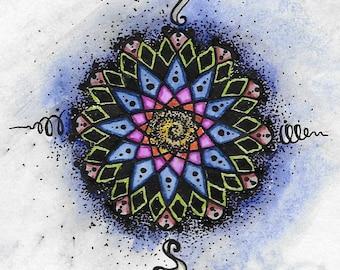 "pen &  ink *original*  4"" x 4.5""  Sunrise Mandala   * twilightdance"