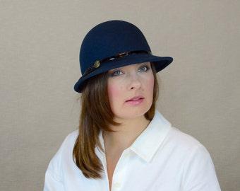 Dark Blue Felt Cap with Leather Ribbon - Blue Felt Hat - Wool Felt Hat - Winter Hat