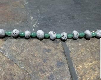 Alice druzy agate with green aventurine bracelet