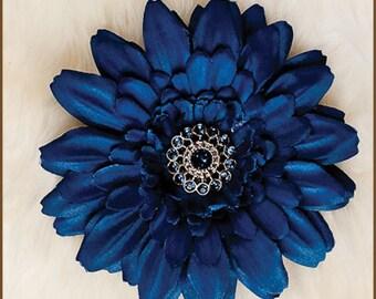 Flower Hair Clip  - Daisy   Solid Navy