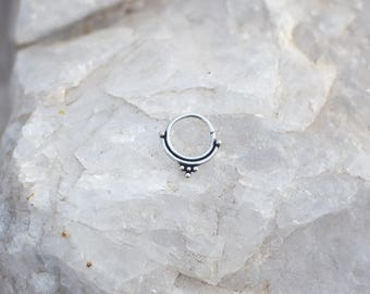 sterling silver septum ring helix tragus cartilage earring boucle d'oreille en argent piercing de nez