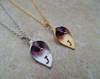 MEDIUM SIZE, February Amethyst Birthstone Necklace, Gold or Silver Calla Lily Initial Necklace, Availabe in all birthstones, Birthday Gift