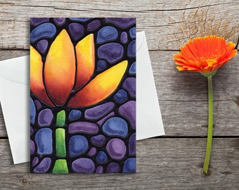 Tulip Greeting Card - Flower Card - Thank You Card - Anniversary Card - Thinking of You Card - Birthday Card - Blank Inside -