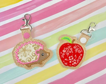 Hedgehog Set Applique Set Snap Tab Embroidery Digital File Instant Download key fob, machine embroidery design, in the hoop