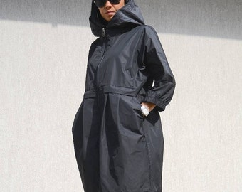 Waterproof black jacket from XS to XL, extravagant party coat, oversized casual jacket for women, maxi size hooded coat, zipper jacket
