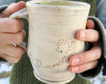 Handmade Ceramic Mug, Coffee Mug, Pottery Mug, Tea Mug, Hand Drawn Dots One of a Kind Cup Rustic, Artisan Pottery by Licia Lucas Pfadt